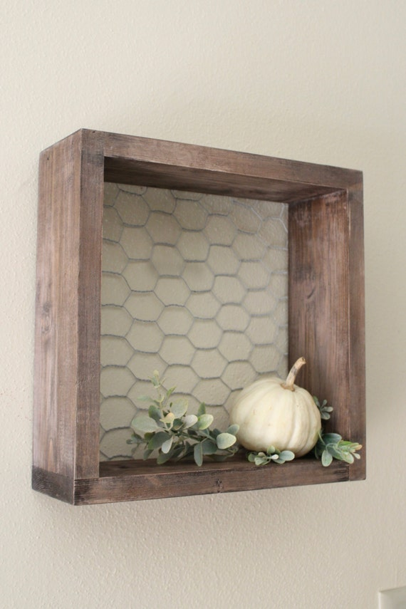 chicken wire amp wood shelf farmhouse home decor wall shelf home decor wire diy projects the cottage market