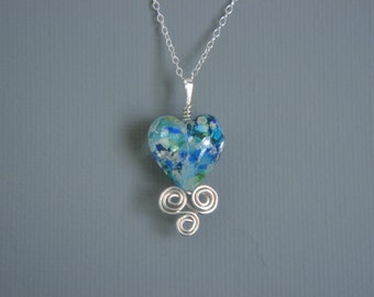 Oceanic Blue Green Murano Heart Pendant Set In Sterling Silver Wire Work