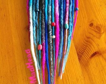 Set 60  Crocheted Cyber Dreads -Full Head- Rasta Handmade Crocheted Dreadlocks Synthetic Hair Extensions Personalized Colors -Made to Order