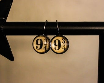Platform 9 3/4 Harry Potter Inspired Lever Back Earrings