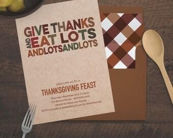 Printable - Give Thanks - Thanksgiving Dinner Feast Invitation