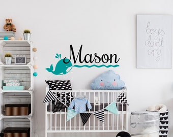 Whale Wall Decal Etsy - Personalized wall decals for nursery
