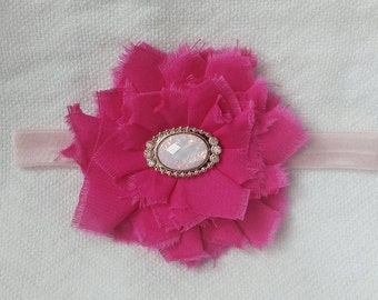 Baby headband, flower headband, shabby chic headband, baby girl headband, pink headband, newborn headband, infant headband, baby girl