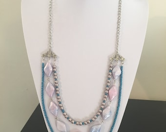 Three strand silver chain and beaded necklace