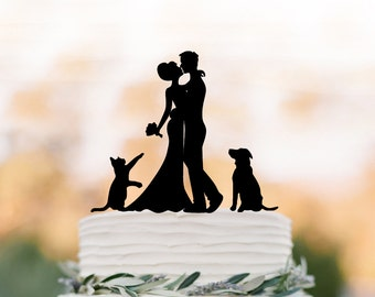 Wedding Cake topper with cat.  Funny Cake Topper with dog, bride and groom cake topper,  unique wedding cake topper customized