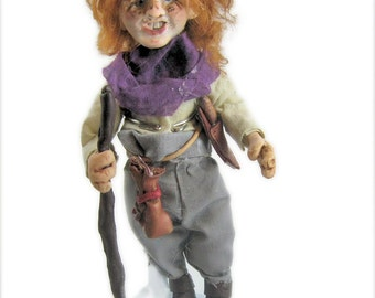 Medieval Traveler Art Doll - Polymer Clay Art Doll - Poseable Art Doll - Stand included - Jolly Freckled Bard Minstrel