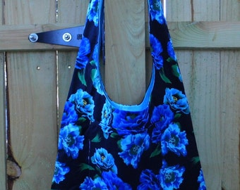Hobo Sling Bag - Blue Flowers