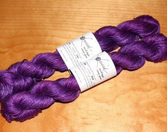 100% hemp yarn for knitting weaving crafts - one of a kind hand dyed in violet purple - dk weight - two 140 yard skeins