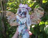 RESERVED Sugar Skull, Dragonfly Spirit Art Doll, OOAK Figurative Sculpture,  Mix Media, Art Doll by Griselda