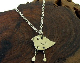 Small Silver Bird Charm Necklace, by Kathryn Riechert