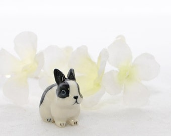 Dutch Bunny Necklace B.W. - Small Black White Rabbit Jewelry - Bunny Jewelry - Dutch Rabbit - Pet Bunny Rabbit - Gift for Her - Cute Bunny