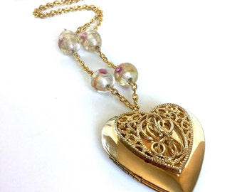 Gold Heart Locket Necklace with Pink Flower Glass Beads Handmade from Vintage Materials - Gold Chain, Clear Beads with Metallic Shimmer