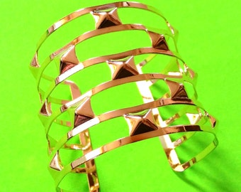 Pyramid Spikes Wide Gold Cuff Bracelet