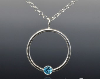 Faceted Swiss Blue Topaz in Minimalist Sterling Silver Circle Pendant Necklace