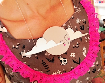 Mega Moon Necklace -  pearl acrylic laser cut necklace platinum pearl pearlised and black clouds moon lady hand painted huge