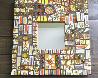 Hippie Flower Mosaic Mirror