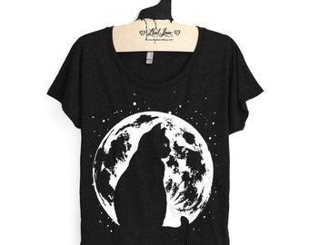 S, L,XL- Heather Black Scoop Neck Dolman Tee with Cat Moon Screen Print