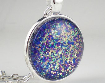 Violet Sea Green Glitter Nail Polish Necklace Jewelry Nail Polish Jewelry