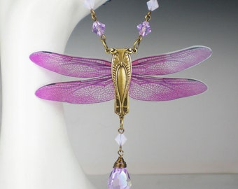 Dragonfly Necklace Lavender Pink Art Nouveau Vintage Inspired Dragonfly Jewelry