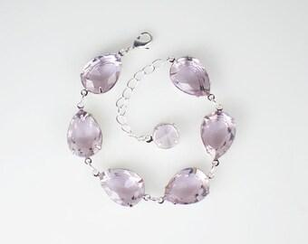 Pale Lavender Rhinestone Bracelet Lavender Wedding Bridesmaid Jewelry