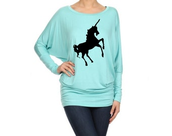 Womens Dolman Shirt Women's Unicorn Shirts Slouchy Wine Plus Size Off shoulder unicorns prints screen printed Animals , large, XL, 2XL 3XL