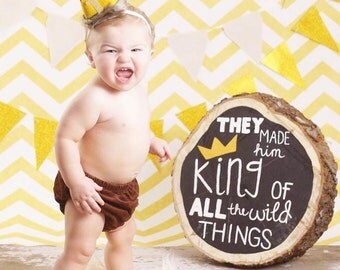 Where the Wild Things Are Inspired max crown, headband crown, smash cake photo prop, cake smash, photo prop, first birthday