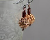 Sparkly Pale Topaz Swarovski Crystal Pave Bead Earrings