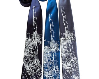 Skylab Print Necktie. NASA Space Station silkscreen tie. Astronaut, science tie. Space enthusiast gift, rocket scientist.