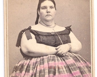 Circus fat lady Victorian cdv tinted freak oddity antique photo Dora