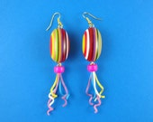 Rainbow Long Bauble Earrings - multi colored lucite beads, party popper strands, Harajuku Decora, colorful cute kitsch, retro funky quirky