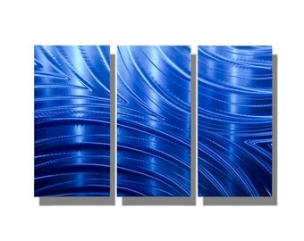 Abstract Metal Wall Sculpture in Blue, 3 Panel Decorative Metal Wall Art, Contemporary Metal Wall Decor - Blue Synchronicity 3p by Jon Allen