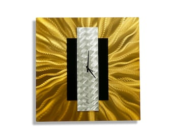 Gold, Silver, & Black Abstract Metal Wall Clock, Large Modern Metal Wall Art Sculpture - Gold Rush by Jon Allen