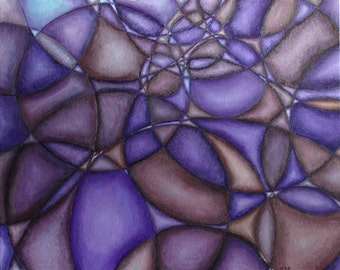 """Violet Purple Abstract with Circles Original Acrylic Painting 16"""" x 20"""""""