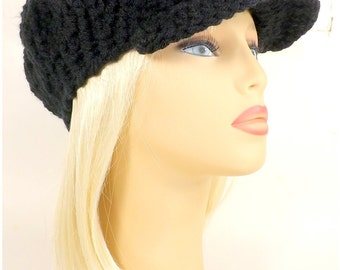 Crochet Newsboy Hat, Womens Newsboy Caps, Peaked Hat with Brim, Beanie Hat, Womens Brim Hat, Peaked Beanie, Black Hat CONDUCTRESS Peaked Hat