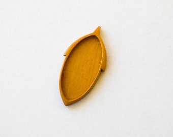 by ArtBASE- Brooch Blank - Blank Mounting - Mahogany -  30 x 63 mm Cavity - (D105-M)
