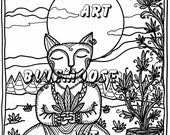 Bluemoose ART Coloring Book Page Zen Cat Adult or Child Art Therapy