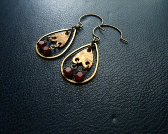 reduced - planchette - brass and red rhinestone chandelier hoop earrings - occult inspired jewelry