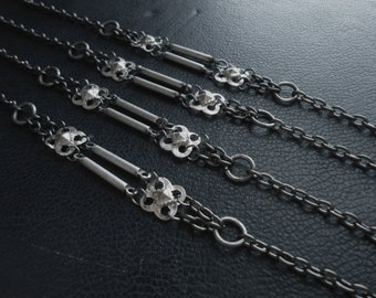 iron maiden - vintage repurposed bracelet silver armor medieval fantasy festival fashion jewelry