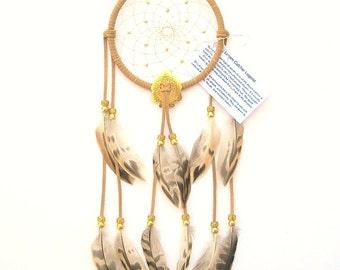 Beige Dream Catcher, Mallard Hen Feathers