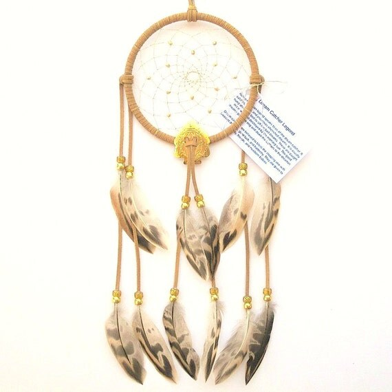 Beige Dream Catcher, Mallard Hen Feathers