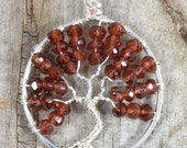 Garnet Tree of Life Pendant Silver Wire Wrapped Jewelry January Birthstone Gemstone Necklace Rich Red Faceted Garnet Gemstone Jewelry RTS