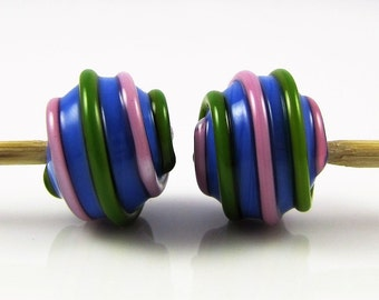 Pink, Green, and Blue Hollow Wrap Lampwork Glass Beads