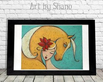 Palomino Horse Art Print, Equine Illustration, Elegant Woman, Farmhouse Decor, French Country, Shabby Chic, Entryway Lovers Gift, Shano