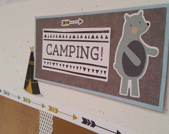 CAMPING TENT Scrapbook Premade Pages School / 2 PAGE Layout 12x12