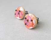 Bagel & Lox Stud Earrings - polymer clay miniature food jewelry
