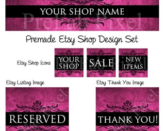 Pink Shop Banner Set, Magenta Cover photo, Fucsia Shop Banner, Elegant Etsy Banner Set, Etsy Shop Design Set, Chic Etsy Banner and Icons