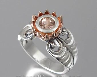 PINK LOTUS 14K rose gold and silver ring with Morganite