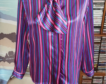 Vintage Jewel Toned Striped Blouse with Ascot Collar M L