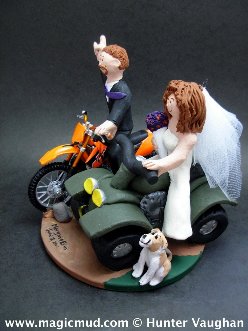 atv wedding cake topper on atv groom on motorcycle wedding cake topper atv 10890