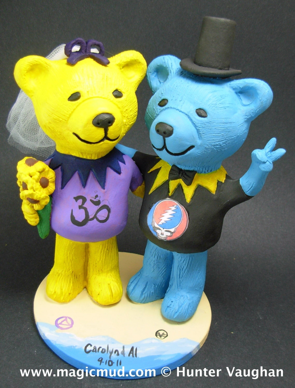 Grateful Dead Wedding Cake Topper Custom Made Dancing Bears Jerry Bear